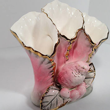 Ucago Ceramic Triple Flute Vase with pink bird, gold trim, pink and gray leaves