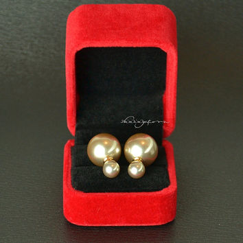 Ear Jacket  - Front and back pearl earring jacket - Christmas Gift ,Gift for her,Christmas decor