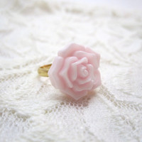 Baby pink rose ring pale pink flower on gold by LazyOwlBoutique