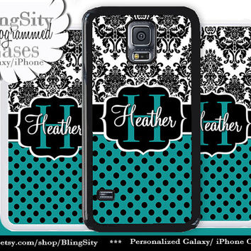 Monogram Damask Polka Dots Galaxy S5 case S4 Turquoise Teal Black Personalized Samsung Galaxy S3 Case Note 2 3 4 Cover