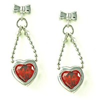 Bow Knot and Bead Chain with Bezel Heart Shaped Red CZ Drop Stud Earrings