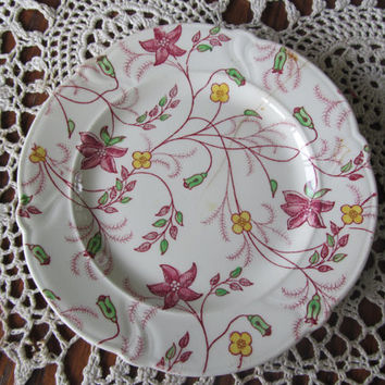 """Chintz Floral Plate USA Smith Taylor Chintz 6"""" saucer Ecru Burgundy Red Floral 1940s"""