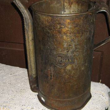 Antique Huffman DAYON OHIO industrial large  oil can