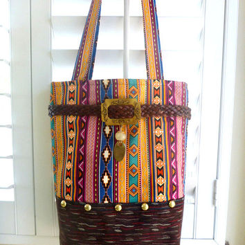 Aztec stripe tribal handbag, boho bag, tote, western bag, bohemian bag, book tote, southwestern bag, fall fashion, cowgirl bag, COUPON