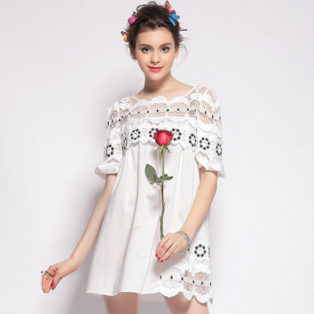 White Cutout Lace Dress