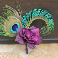 MADE TO ORDER - Peacock Ladies Wedding Pin on Corsage