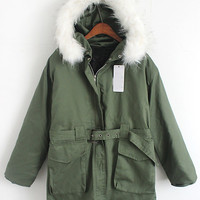 Green Faux Fur Hooded Pockets Belted Long Sleeve Coat