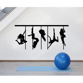 Vinyl Wall Decal Pole Dance Silhouette Sexy Woman Dancers Stickers Mural (g1685)