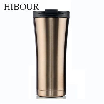 HIBOUR Fashion Tumbler Vacuum Flask Double Wall Stainless Steel Coffee Thermos Cups Mugs Thermal Bottle 500 ml Thermocup