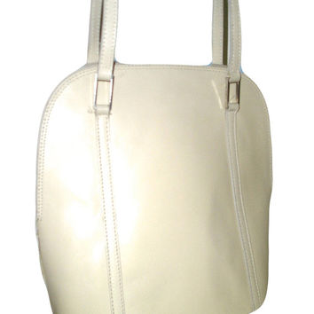 Vintage 80s Unusual Shape Beige Italian Top Grain Calfskin Leather Hardcase Tall Hand Shoulder Bag Tote - Saks Fifth Avenue