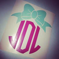 Bow Initial Bow Monogram Bow Car Decal Monogram Decal Monogram Vinyl Vinyl Decal Monogram Gift Monogram sticker Car sticker Car Initials