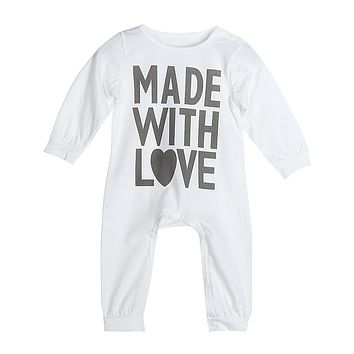 New Baby Unisex Rompers Infant Toddlers Letter Print Long Sleeve Rompers Jumpsuits For Spring Autumn For 0-24M Baby Clothes