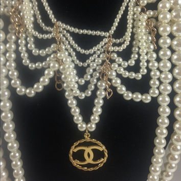 Statement Pearl Necklace W Chanel Charm (Handmade)