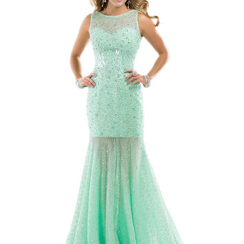 High Neck Sheer And Beaded Top Formal Prom Dress Flirt P4853