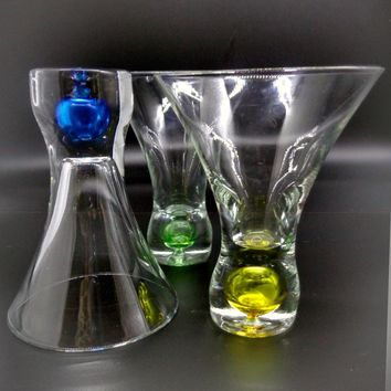 Stemless Martini Glasses With Colored Base  S/3