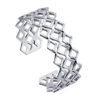 Sterling Silver Geometric Diamond-Pattern  Cuff Bracelet  Custom Made in the USA