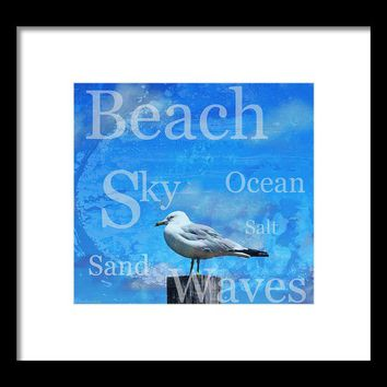 Beach Art Seagull By Sharon Cummings Framed Print