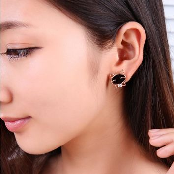 Black Onyx Cat High-Grade Fine Stud Alloy Earrings With Gold Detail