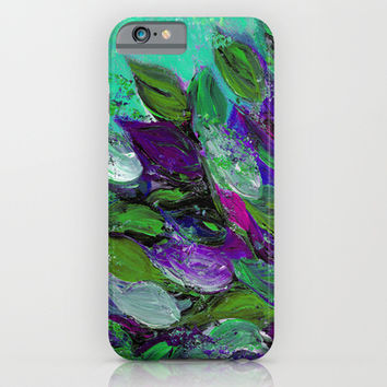 BLOOMING BEAUTIFUL 1 - Floral Painting Mint Green Seafoam Purple White Leaves Petals Summer Flowers iPhone & iPod Case by EbiEmporium