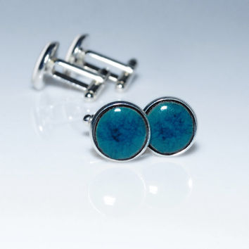 "Dark turquoise ceramic cufflinks 15mm cuffs 0.6"" Turquoise cufflinks silver plated findings Distinctive n elegant everyday accessory for men"
