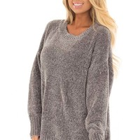 Hazel Grey Super Soft Tunic Sweater