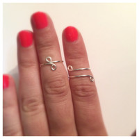Silver Midi Ring Set of Two, Adjustable Wire Designs, Infinity and Wrap Around Design