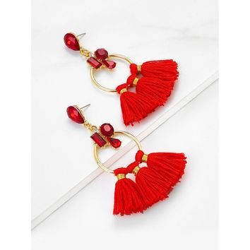 Tassel Hoop Drop Earrings With Rhinestone
