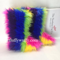 Rainbow Ribbon Fluffy Wuffy Boots