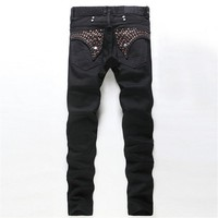 Hot bronzing black men's jeans, men's European and American fashion Slim Straight trousers, high quality men's jeans Rock Star