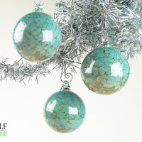 Blown Glass Ornament Suncatcher Turquoise Amber Agate Speckle