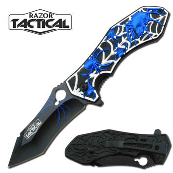 "7.75"" Fantasy Spider Spring Assisted Opening Knife Blue"