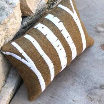 Birch Trees Appliqued on Burlap Pillow by YellowBugBoutique