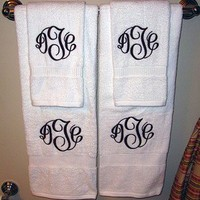 Custom Bath Towel | Monogrammed Preppy Towel | Personalized Initial