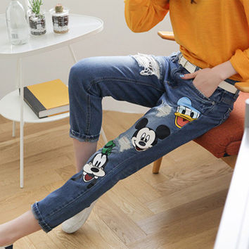 Fashion 2016 Women jeans plus size denim ankle length trousers female summer cartoon loose harem pants trousers