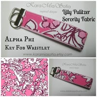 Lilly Pulitzer Sorority Fabric / Alpha Phi / Key Fob Wristlet / Preppy/ Big Little Gift / Stocking Stuffer/Chapter Gift