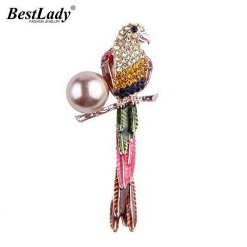 Best lady Luxury Crystal Eagle Brooches Pins Clip Bohemian Multicolored Scarf Accessory Simulated Pearl Wedding Brooches 5403