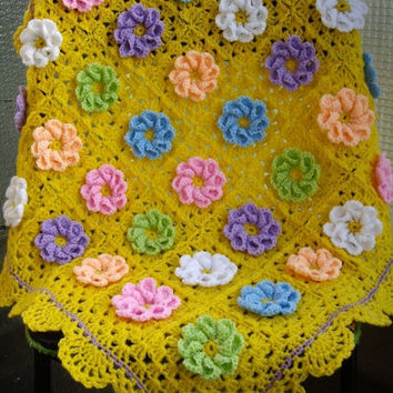 ON SALE - 10% OFF Granny Square Crochet Blanket...Baby Crochet Blanket...Yellow Knitting Patchwork Afghan...