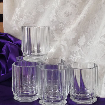 Italy Vetravir Clear Glass Tumblers Rock Glasses Paneled Octagonal Heavy Vintage Set of Six