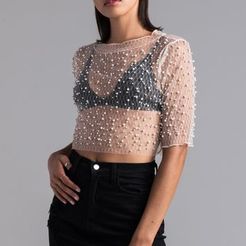AKIRA Diamond Mesh Pearl Detail Crop Top in Nude