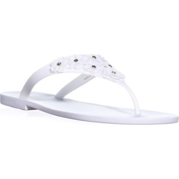 Nine West Vlora Flat Thong Jelly Sandals, White, 9 US