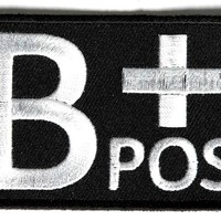 "Embroidered Iron On Patch - B+ Positive Blood Type 3"" Patch"