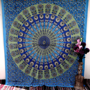 Feather Wall Tapestries, Psychedelic Mandala Tapestry Wall Hanging, Indian Bedspread Bohemian Room Décor, Dorm Bedding Tapestry Art
