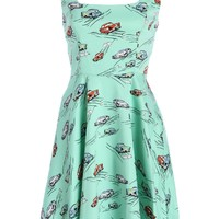 Turquoise Cadillac Car Print Retro Vintage 50s A-Line Dress - Size Small