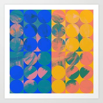 Pop Art Pattern Abstract in Yellow and Blue Art Print by Emmanuel Signorino