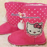 PROMOTION: WINTER Cute and BLING Kids UGG InspiredWool Boots w Crystal Hello Kitty - ZoeCrystal
