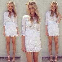 Hot Selling gagaopt 2015 New Spring Summer Women's high quality  Elegant  O Neck Cute Lace Sexy Party dress White Mini Dress