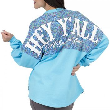 Hey Y'all - It's a Southern Thang - Floral Crew Neck Spirit Jersey with Pocket
