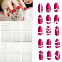 Beauty Tool  Nail Art White French Manicure Guide 18 Styles Tips Guides Manicure Stickers Stencil = 4849860548