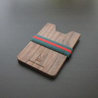 Insanely Simple wooden wallet for minimalist / (Green-Red X Walnut wood) / wallet for mens and womens / credit card holder money clip