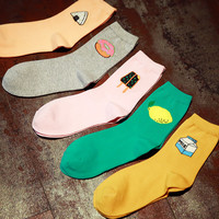 2016 New Fashion Korean Women Cute Cotton Socks Kawaii  Lemon Donut Sushi Cartoon Harajuku Funny casual Cheap Novelty Art Sox